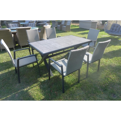 41 - A Bramblecrest Milan 167cm rectangle table with six high back armchairs, ex-display...