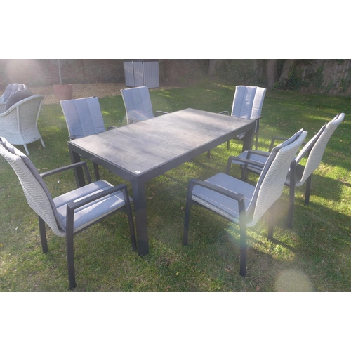 39 - A Bramblecrest Milan 167cm rectangle table with six high back armchairs, ex-display...