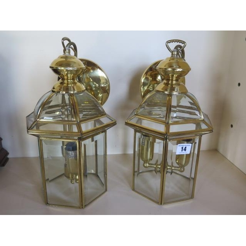 14 - A pair of modern brass lantern ceiling lights, with bevel edge glass, 33cm tall...