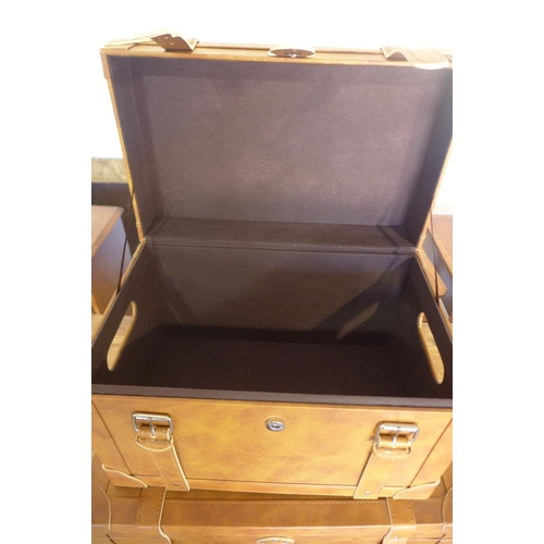 17 - Two leather effect storage boxes, largest 33x51x33 cm...