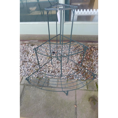 7 - A painted metal corner plant stand, 75cm H x 85cm W...