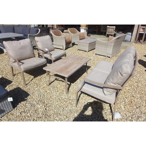 58 - A Bramblecrest aluminium two seater settee and coffee table and two armchairs - RRP £1047, ex displa...