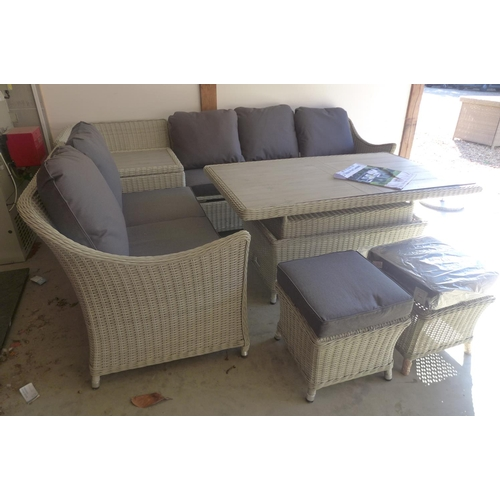 49 - A Bramblecrest Monterey modular storage sofa with two stools and a rectangular adjustable ceramic ta...