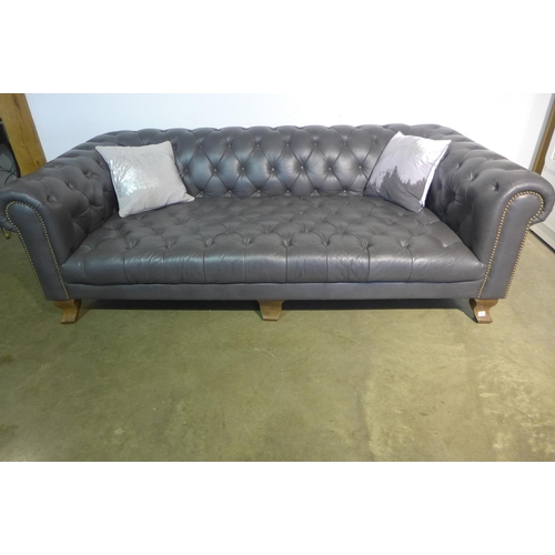 1 - An ex-display Alexander and James Vivienne Grey soft leather Chesterfield, three seat sofa, 232cm W ...
