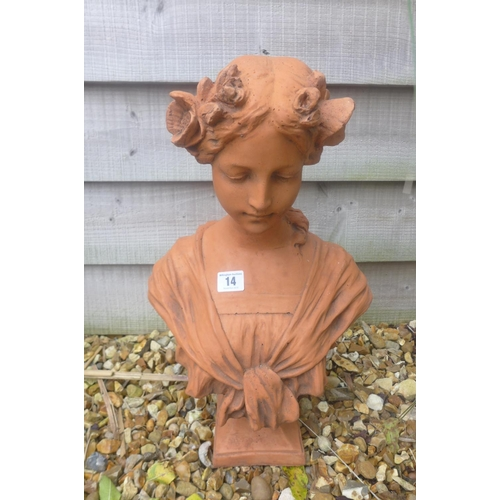 14 - A cast stone Art Nouveau style bust of a young girl with flowers in her hair -  30cm W x 45cm H...