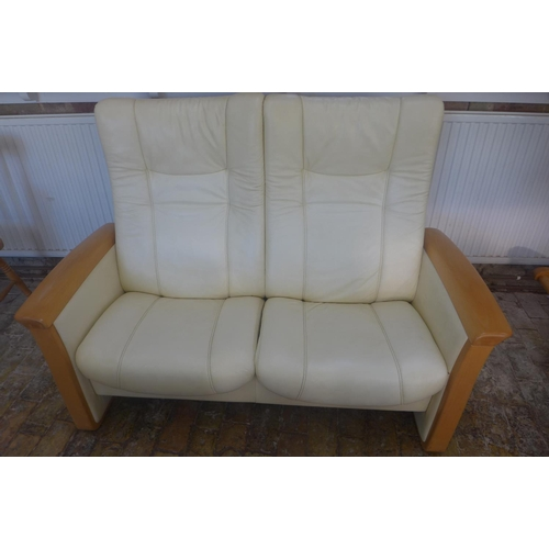 2 - A Garantieladel Nicht Entfern Zerostress Himollia cream leather two seater reclining sofa, 150cm wid...