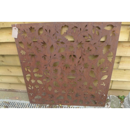 20 - A pierced steel decorative wall panel depicting falling autumn leaves, 99.5cm square...