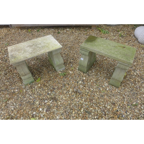 23 - A cast stone three part bench with scrolled supports, 59cm W x 30cm D x 41cm H - together with a sim...