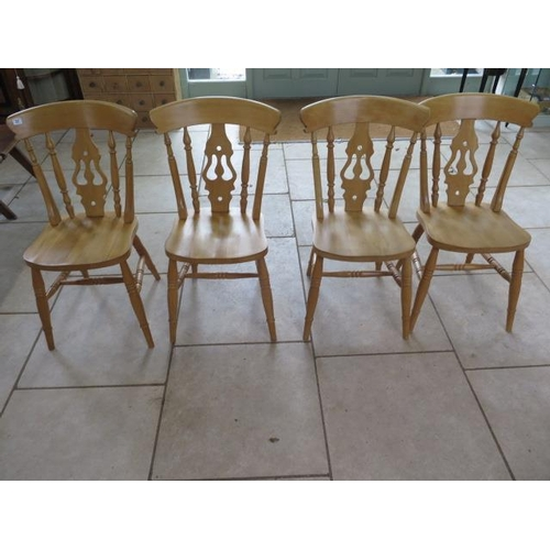 27 - A set of four modern beech lyre back kitchen chairs, in good clean polished condition...
