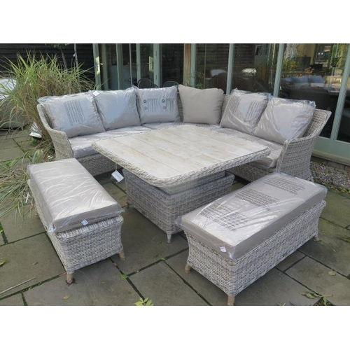 31 - A Bramblecrest Ascot square modular sofa set with two benches and square adjustable table with ceram...