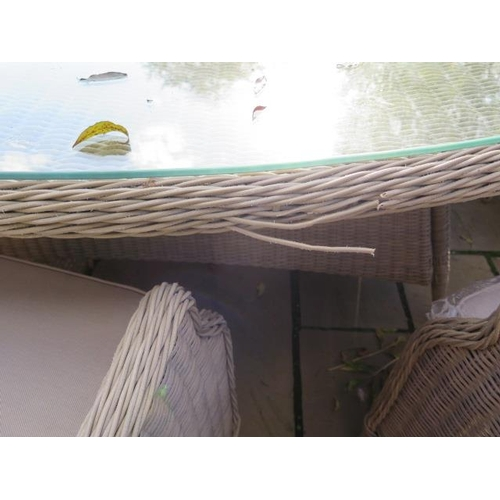 32 - A Bramblecrest Oakridge dining set - 250cm elliptical table, lazy Susan, six high back dining armcha...