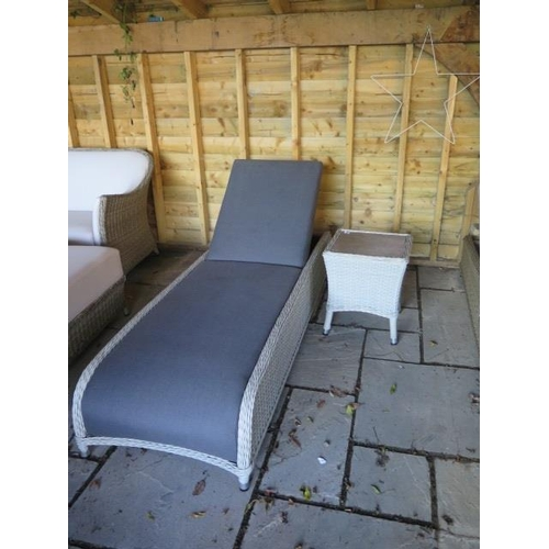 36 - A Bramblecrest lounger with a high coffee table, ex-display...