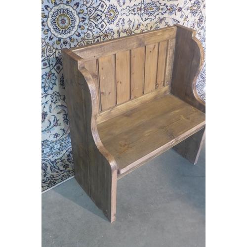 61 - A rustic pine hall bench, 92cm tall x 81cm x 39cm...