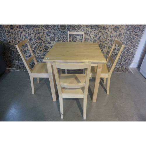 54 - A beechwood table and four chairs, 75cm H x 75cm x 75cm...