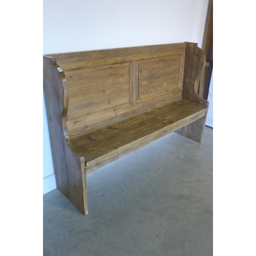 6 - A rustic polished pine pew, 170cm wide...