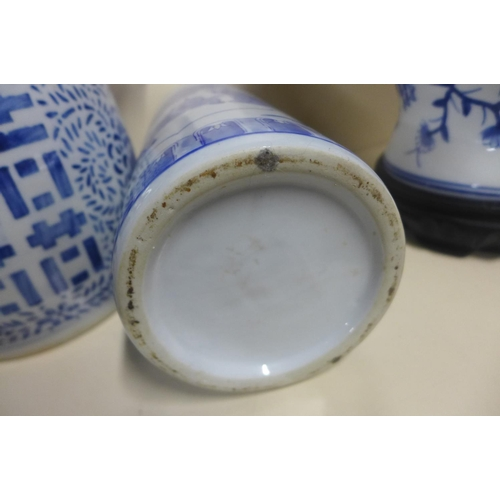 10 - Five pieces of modern oriental blue and white china, tallest 44cm, all good...