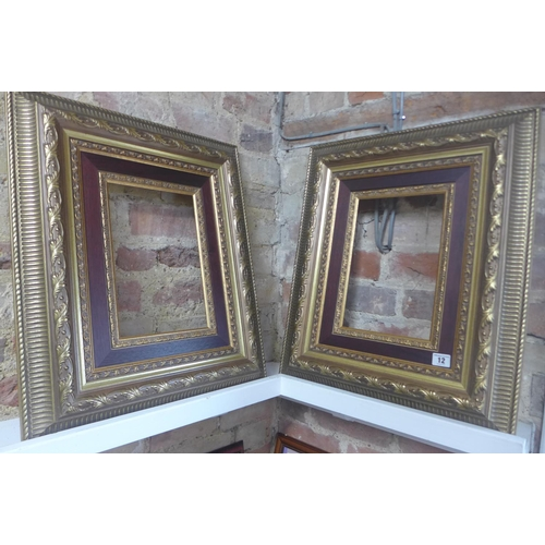 12 - A pair of modern gilt frames, 59x50cm - will take pictures 34x24cm...