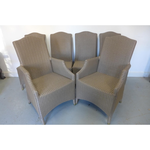 2 - A set of six Vincent Sheppard Louis Lloyd loom weave chairs, four singles and two armchairs, some us...