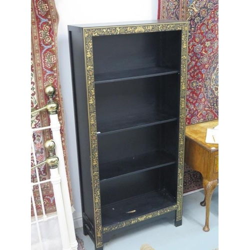 25 - A chinoiserie style black tall bookcase with three shelves, 170cm tall x 80cm x 30cm - slight damage...