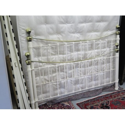 35 - A Laura Ashley brass and iron Victorian style bed, super king size 6 foot, with a Laura Ashley Strat...