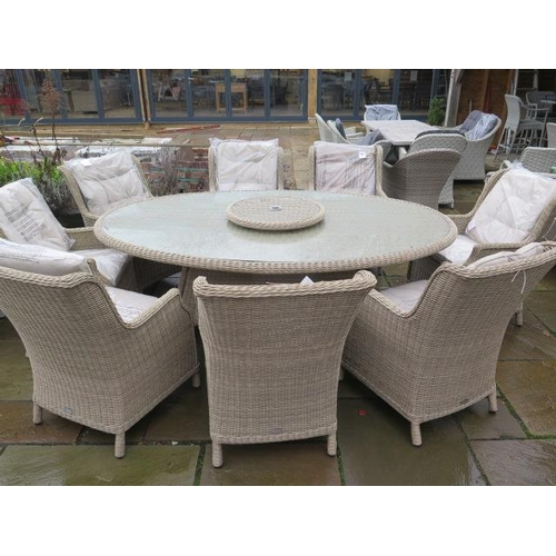 40 - A Bramblecrest Oakridge dining table 220cm x 145cm - with eight high back chairs, ex-display...