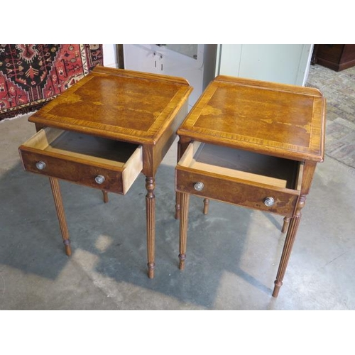 43 - A pair of burr oak lamp tables with a single drawer on turned reeded legs, 76cm H  x 50cm x 49cm - m...