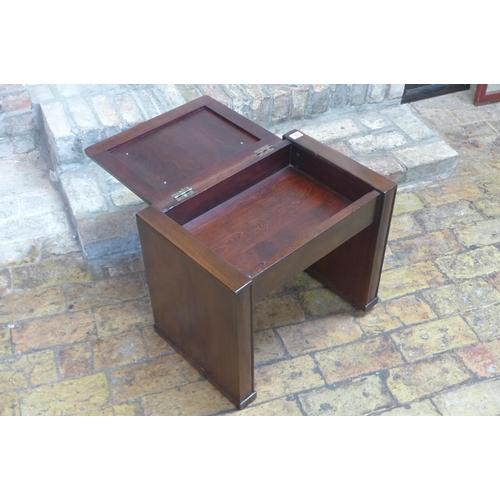 70 - A circa 1930's walnut music stool, 45cm H x 51cm x 34cm...