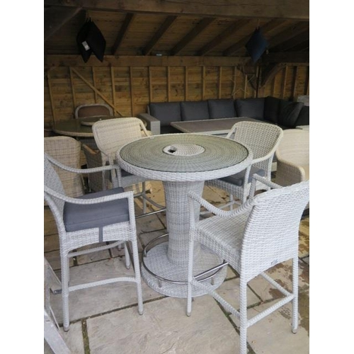 13 - A Bramblecrest Chester 96cm round bar table and four bar stools, ex-display...
