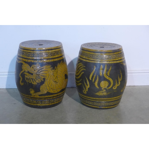 25 - Two Chinese barrels from ceramic garden seats...