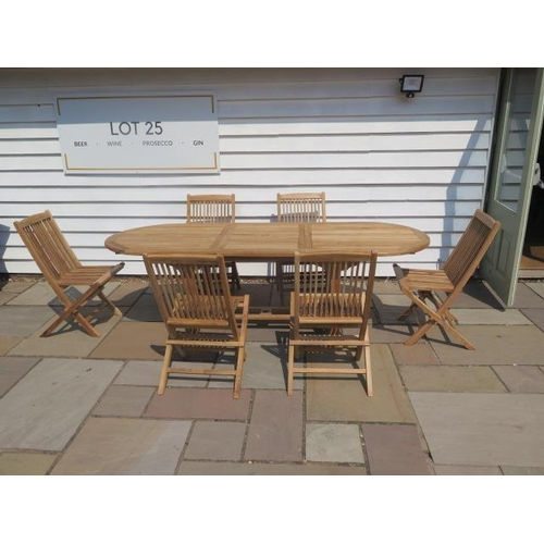 1 - A new teak garden table and 6 folding chairs. Table size extends from 180cm to 240cm with single fol...