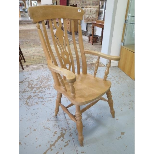 13 - A Victorian style beechwood grandfather chair, 115cm tall