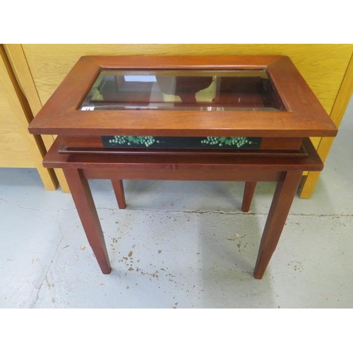 14 - A modern mahogany bijouterie display table 70cm tall x 70cm x 46cm, in good condition