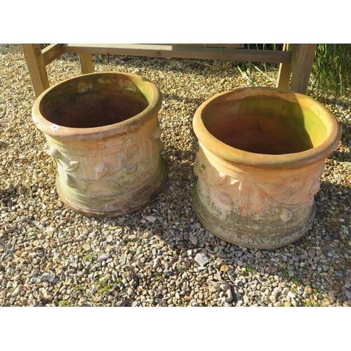 26 - A pair of large terracotta planters, 42cm tall x 50cm diameter
