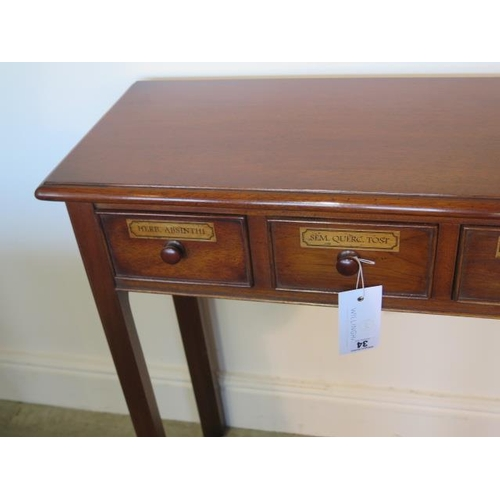 34 - A five drawer mahogany hall table made by a local craftsman to a high standard, 76cm tall x 107cm x ...