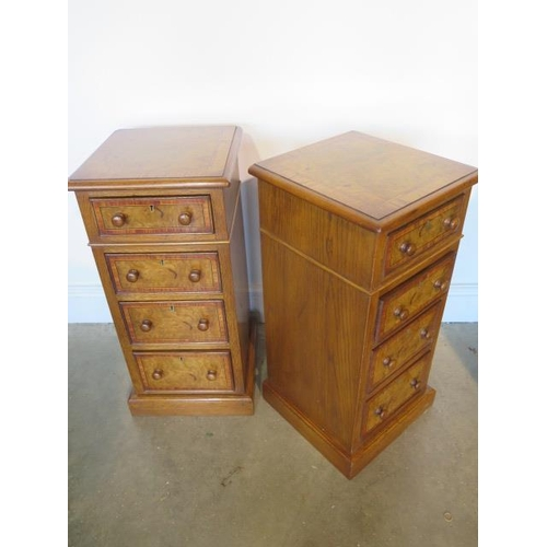 36 - A pair of burr oak four drawer beside chests made by a local craftsman to a high standard, incorpora...
