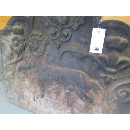 38 - An 18th century style cast iron fireback, 20th century relief cast with lion, tudric rose and fleur ...