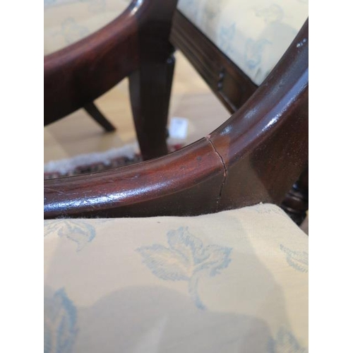 51 - A set of eight early 19th century mahogany bar back dining chairs, including two carvers with uphols...