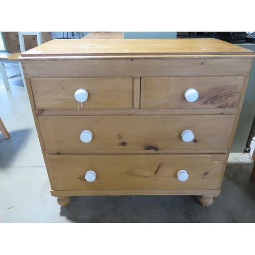 57 - A 19th century pine chest with two short over two long drawers, 90cm wide x 86cm high
