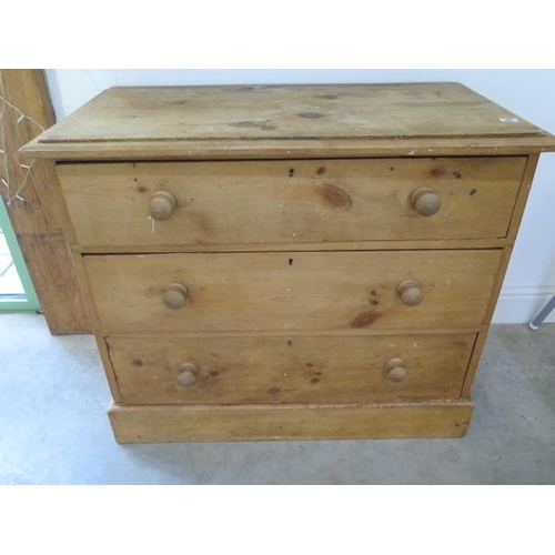 59 - A 19th century pine 3 drawer chest of drawers, 96cm wide x 82cm high