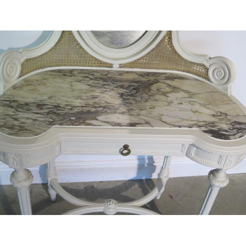 62 - A painted marble top continental dressing table with a drawer, 132cm tall x 90cm x 43cm