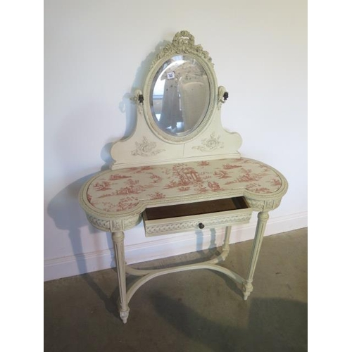 63 - A painted continental dressing table and an upholstered chair, 135cm tall x 97cm x 40cm, chair 97cm ...