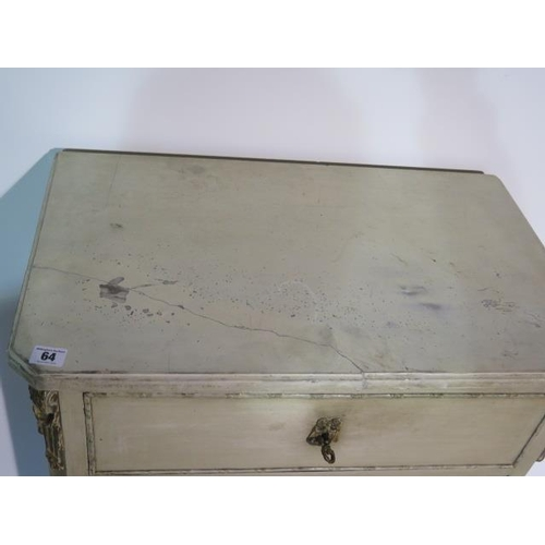 64 - A painted continental marble top 6 drawer chest, marble has been repaired, 125cm tall x 64cm x 39cm