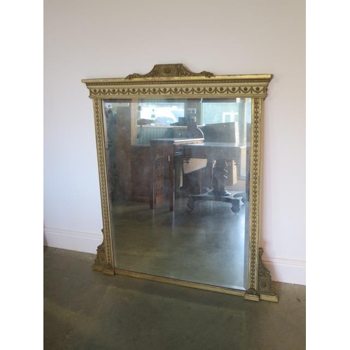 67 - A 19th century gilt and painted over mantle mirror, 123cm tall x 114cm wide