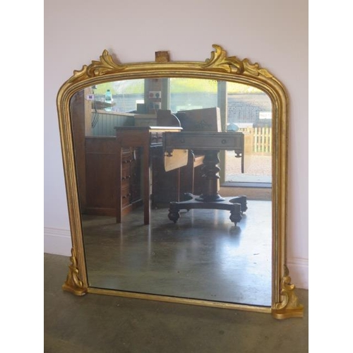68 - A 19th century gilt over mantle mirror, 107cm tall x 108cm wide