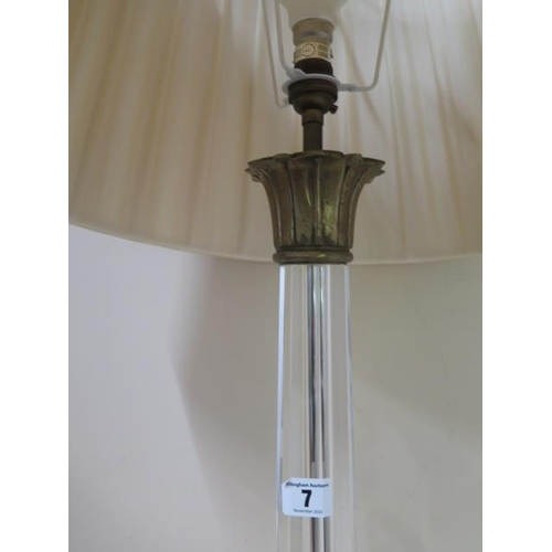 7 - A glass table top with shade, 74cm tall