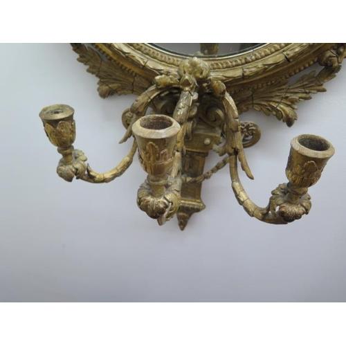 73 - A 19th century gilt 3 branch girondele mirror, 108cm x 55cm