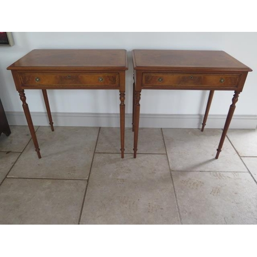 A pair of new walnut lamp tables with a single drawer on turned legs made by a local craftsman to a high standard incorporating older timbers, 77cm tall x 75cm x 46cm