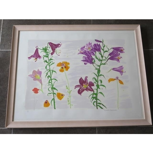 Dame Elizabeth Blackadder, limited edition print Lillies and Poppies 26/45 with blind stamp, frame size 81cm x 105cm also with a Christmas card from John and Elizabeth, in good condition with Glasgow Print Studio receipt for £600 + VAT, please note Artists Resale Rights may apply to this lot