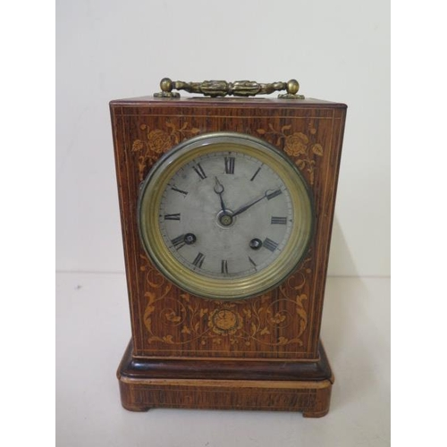 154 - An early 19th century French marquetry inlaid rosewood carriage clock, the movement engraved Meyer P...