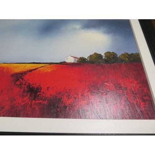 244 - Barry Hilton embellished canvas on board, 14 of 195, frame size 76cm x 100cm, in good condition
